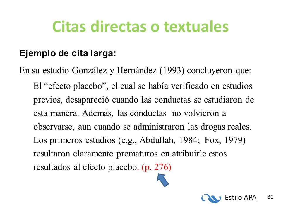 Estilo APA 30 Citas directas o textuales Ejemplo de cita larga: En su estudio González y Hernández (1993) concluyeron que: El efecto placebo, el cual