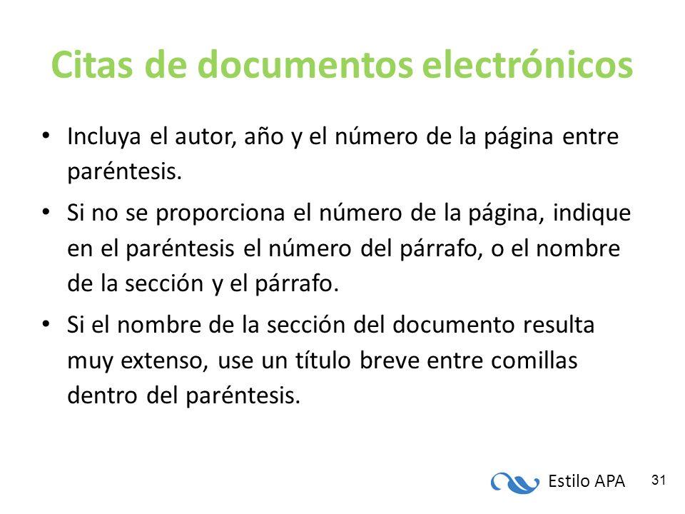 Estilo APA 31 Citas de documentos electrónicos Incluya el autor, año y el número de la página entre paréntesis. Si no se proporciona el número de la p