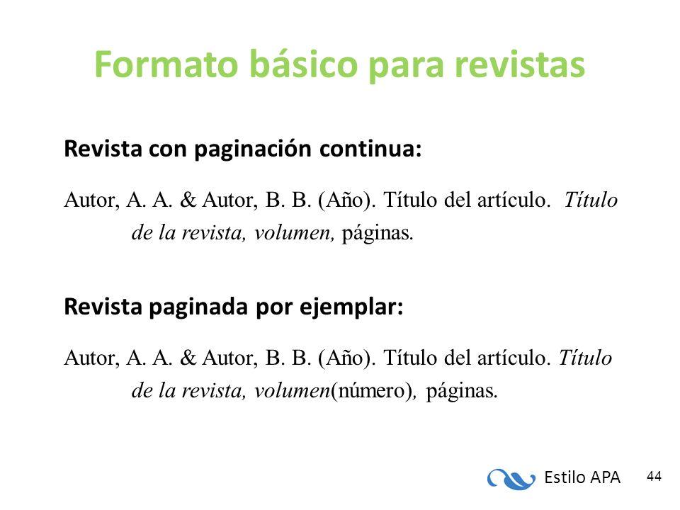 Estilo APA 44 Formato básico para revistas Revista con paginación continua: Autor, A. A. & Autor, B. B. (Año). Título del artículo. Título de la revis