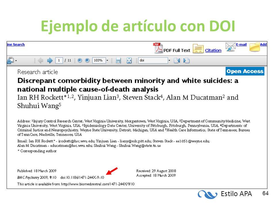 Estilo APA 64 Ejemplo de artículo con DOI