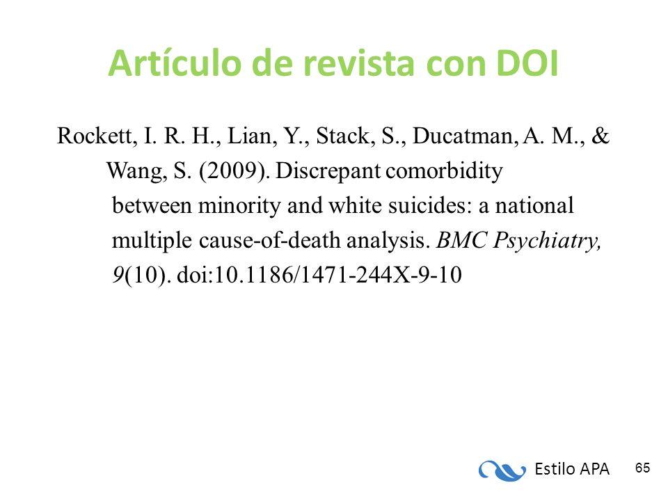 Estilo APA 65 Artículo de revista con DOI Rockett, I. R. H., Lian, Y., Stack, S., Ducatman, A. M., & Wang, S. (2009). Discrepant comorbidity between m