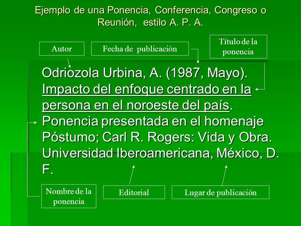 Ejemplo de una Ponencia, Conferencia, Congreso o Reunión, estilo A. P. A. Odriozola Urbina, A. (1987, Mayo). Impacto del enfoque centrado en la person