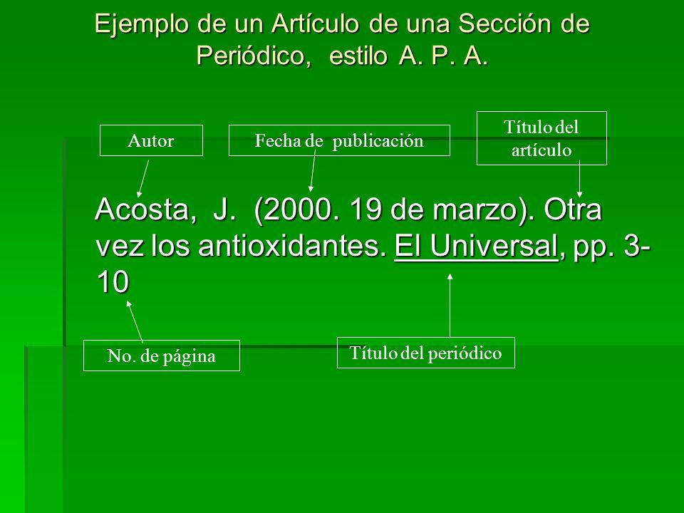 Ejemplo de un Artículo de una Sección de Periódico, estilo A. P. A. Acosta, J. (2000. 19 de marzo). Otra vez los antioxidantes. El Universal, pp. 3- 1