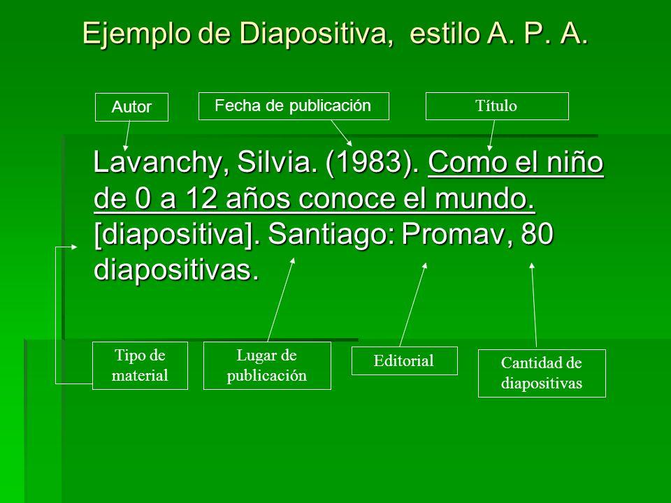 Ejemplo de Diapositiva, estilo A. P. A. Lavanchy, Silvia. (1983). Como el niño de 0 a 12 años conoce el mundo. [diapositiva]. Santiago: Promav, 80 dia