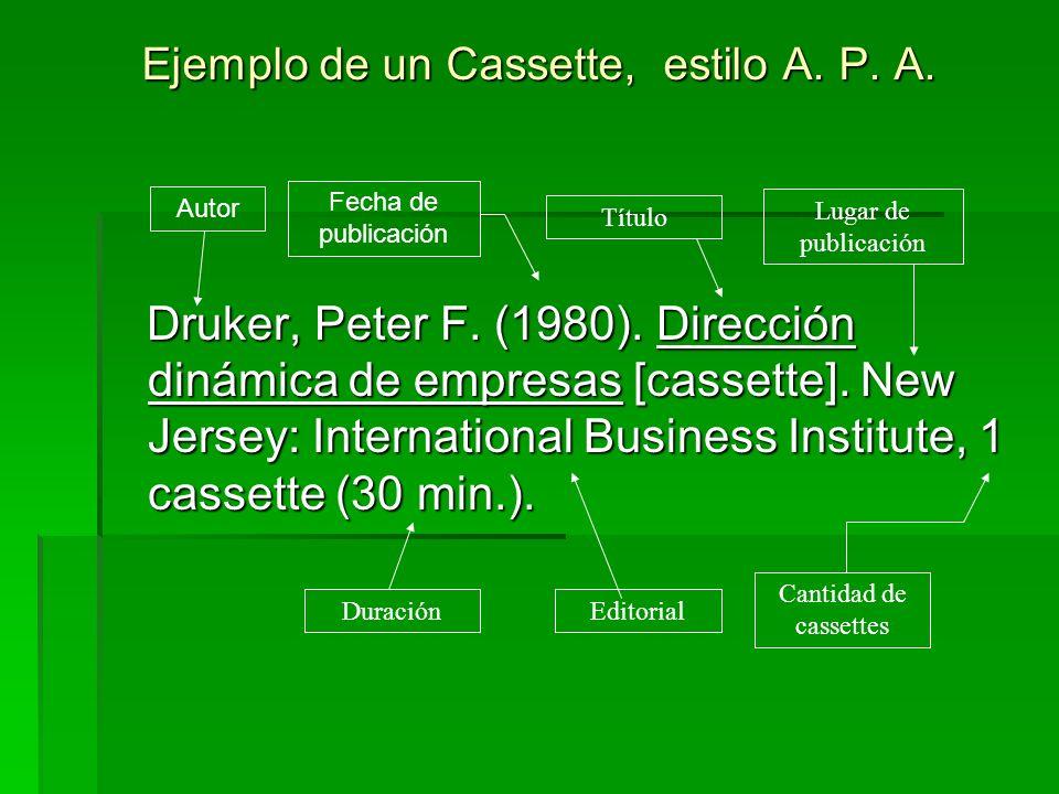 Ejemplo de un Cassette, estilo A. P. A. Druker, Peter F. (1980). Dirección dinámica de empresas [cassette]. New Jersey: International Business Institu