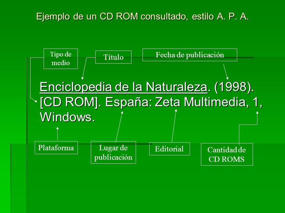 Ejemplo de un CD ROM consultado, estilo A. P. A. Enciclopedia de la Naturaleza. (1998). [CD ROM]. España: Zeta Multimedia, 1, Windows. Enciclopedia de
