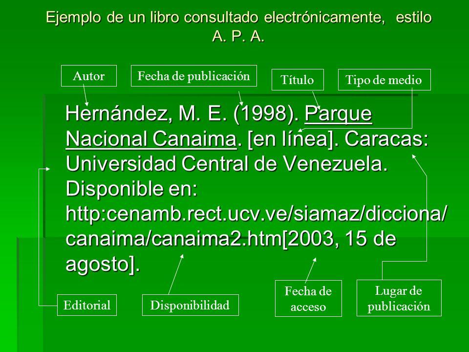 Ejemplo de un libro consultado electrónicamente, estilo A. P. A. Hernández, M. E. (1998). Parque Nacional Canaima. [en línea]. Caracas: Universidad Ce