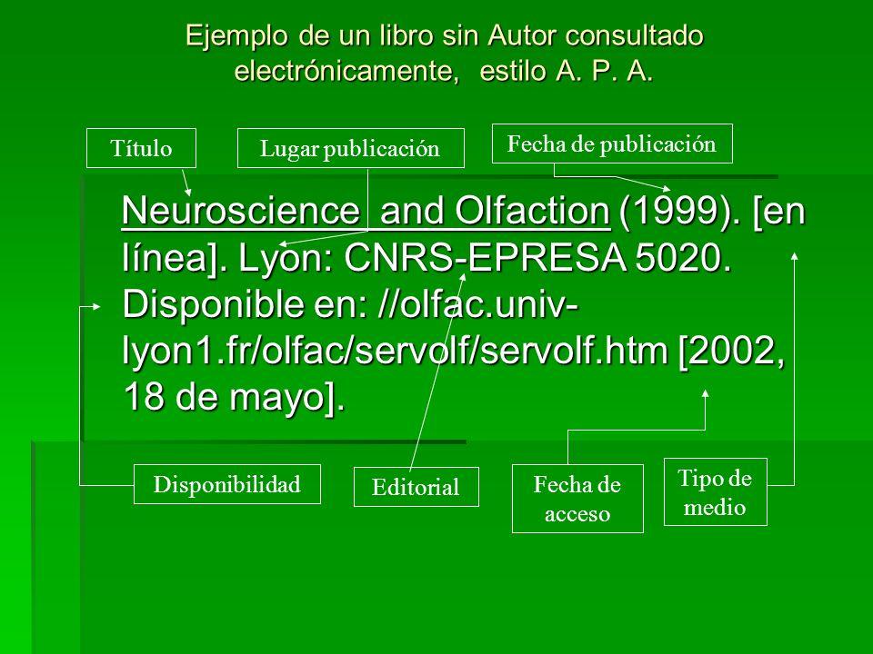 Ejemplo de un libro sin Autor consultado electrónicamente, estilo A. P. A. Neuroscience and Olfaction (1999). [en línea]. Lyon: CNRS-EPRESA 5020. Disp