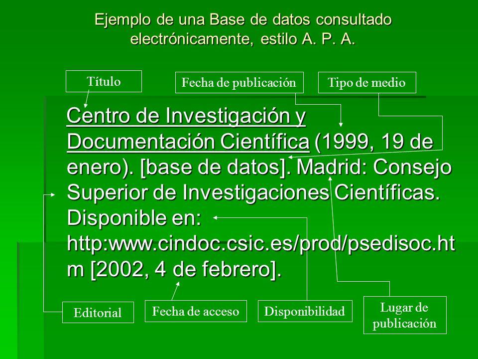 Ejemplo de una Base de datos consultado electrónicamente, estilo A. P. A. Centro de Investigación y Documentación Científica (1999, 19 de enero). [bas