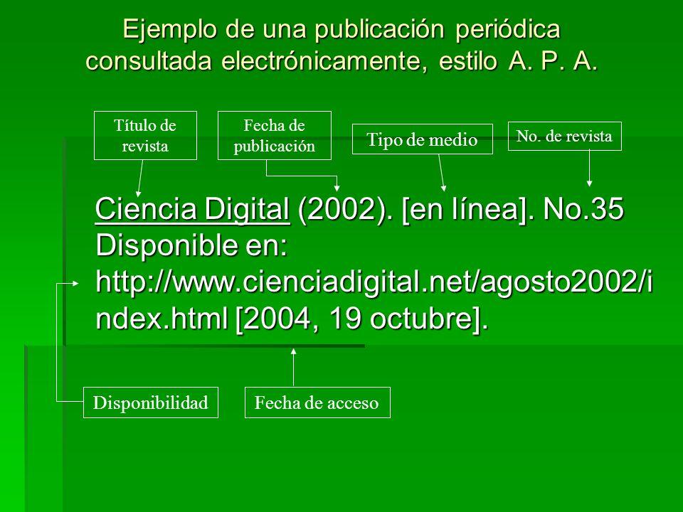 Ejemplo de una publicación periódica consultada electrónicamente, estilo A. P. A. Ciencia Digital (2002). [en línea]. No.35 Disponible en: http://www.