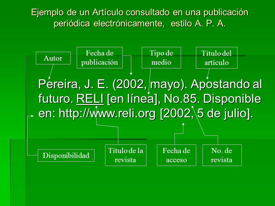 Ejemplo de un Artículo consultado en una publicación periódica electrónicamente, estilo A. P. A. Pereira, J. E. (2002, mayo). Apostando al futuro. REL
