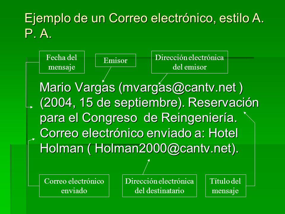 Ejemplo de un Correo electrónico, estilo A. P. A. Mario Vargas (mvargas@cantv.net ) (2004, 15 de septiembre). Reservación para el Congreso de Reingeni