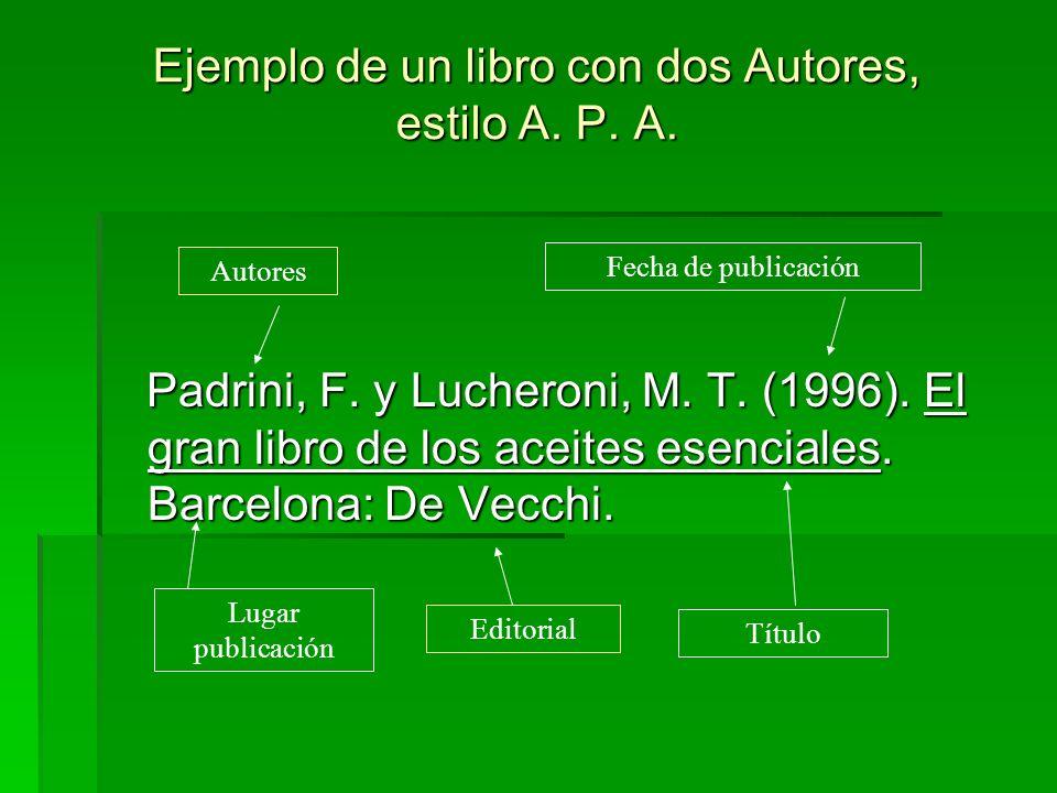 Ejemplo de un libro con dos Autores, estilo A. P. A. Padrini, F. y Lucheroni, M. T. (1996). El gran libro de los aceites esenciales. Barcelona: De Vec