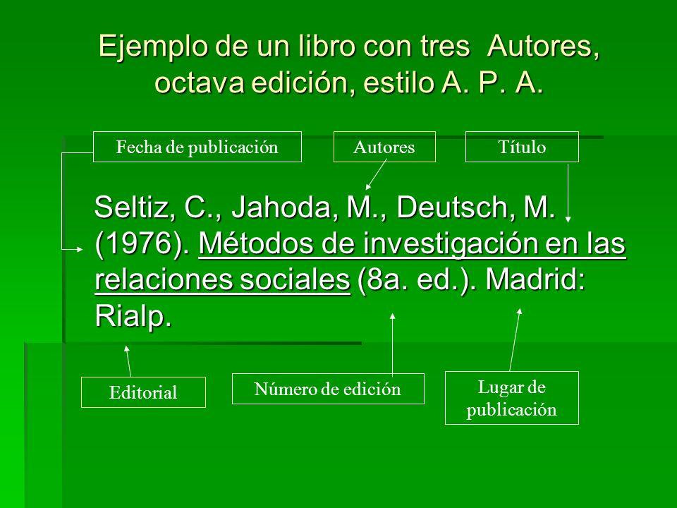 Ejemplo de un libro con tres Autores, octava edición, estilo A. P. A. Seltiz, C., Jahoda, M., Deutsch, M. (1976). Métodos de investigación en las rela