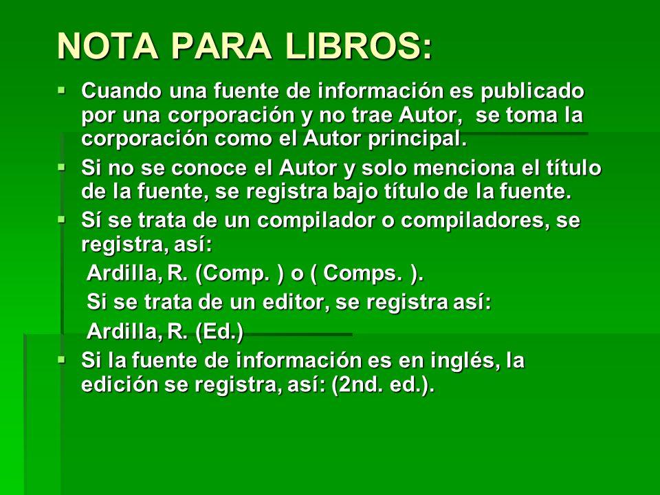 NOTA PARA LIBROS: Cuando una fuente de información es publicado por una corporación y no trae Autor, se toma la corporación como el Autor principal. C