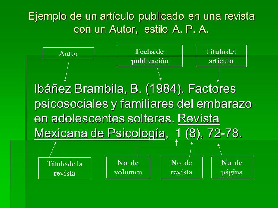 Ejemplo de un artículo publicado en una revista con un Autor, estilo A. P. A. Ibáñez Brambila, B. (1984). Factores psicosociales y familiares del emba