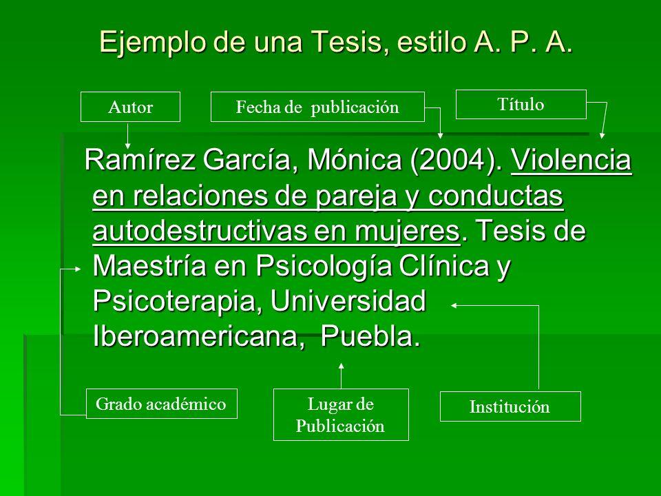 Ejemplo de una Tesis, estilo A. P. A. Ramírez García, Mónica (2004). Violencia en relaciones de pareja y conductas autodestructivas en mujeres. Tesis
