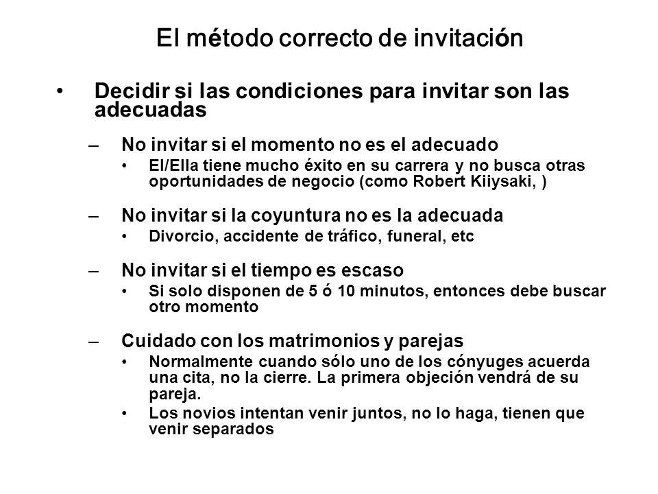 El método correcto de invitación Decidir si las condiciones para invitar son las adecuadas –No invitar si el momento no es el adecuado El/Ella tiene m