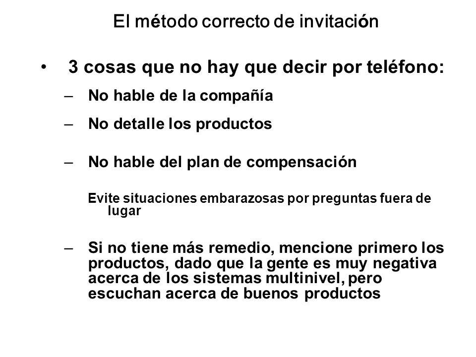 El método correcto de invitación 3 cosas que no hay que decir por teléfono: –No hable de la compañía –No detalle los productos –No hable del plan de c