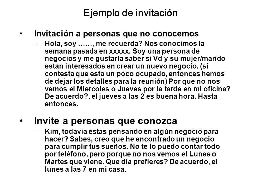 Ejemplo de invitación Invitación a personas que no conocemos –Hola, soy ……, me recuerda? Nos conocimos la semana pasada en xxxxx. Soy una persona de n