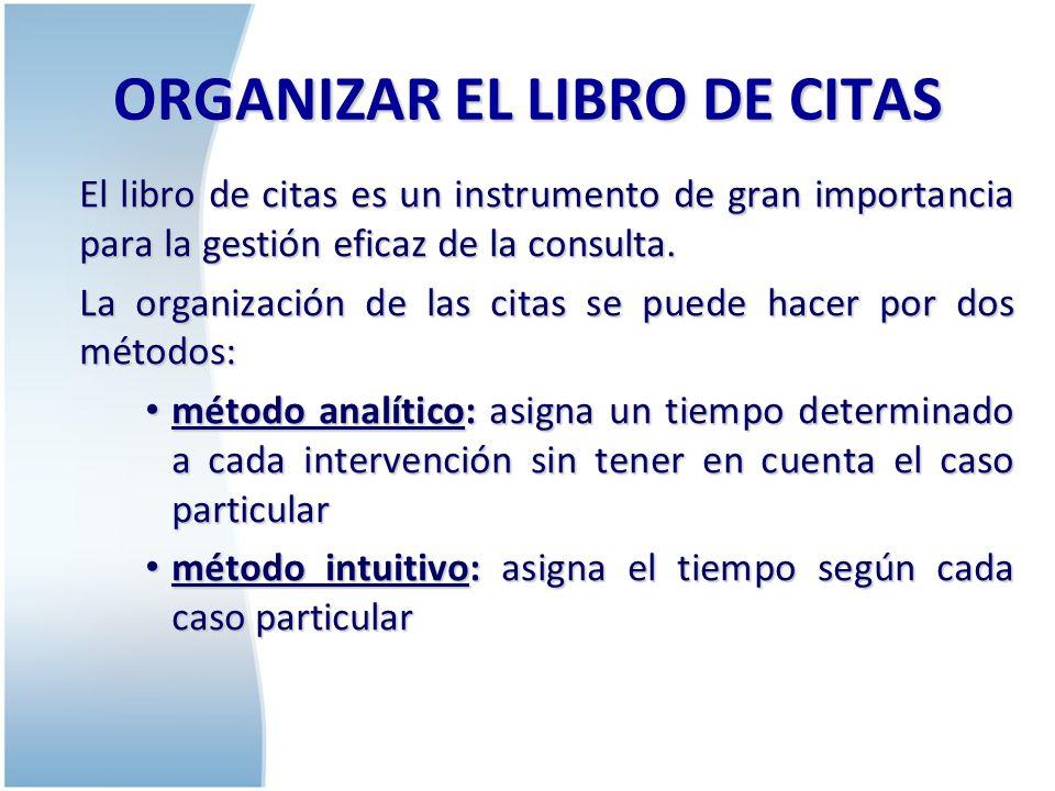 ORGANIZAR EL LIBRO DE CITAS Al organizar el libro de citas debemos tener en cuenta: las necesidades y deseos del paciente.
