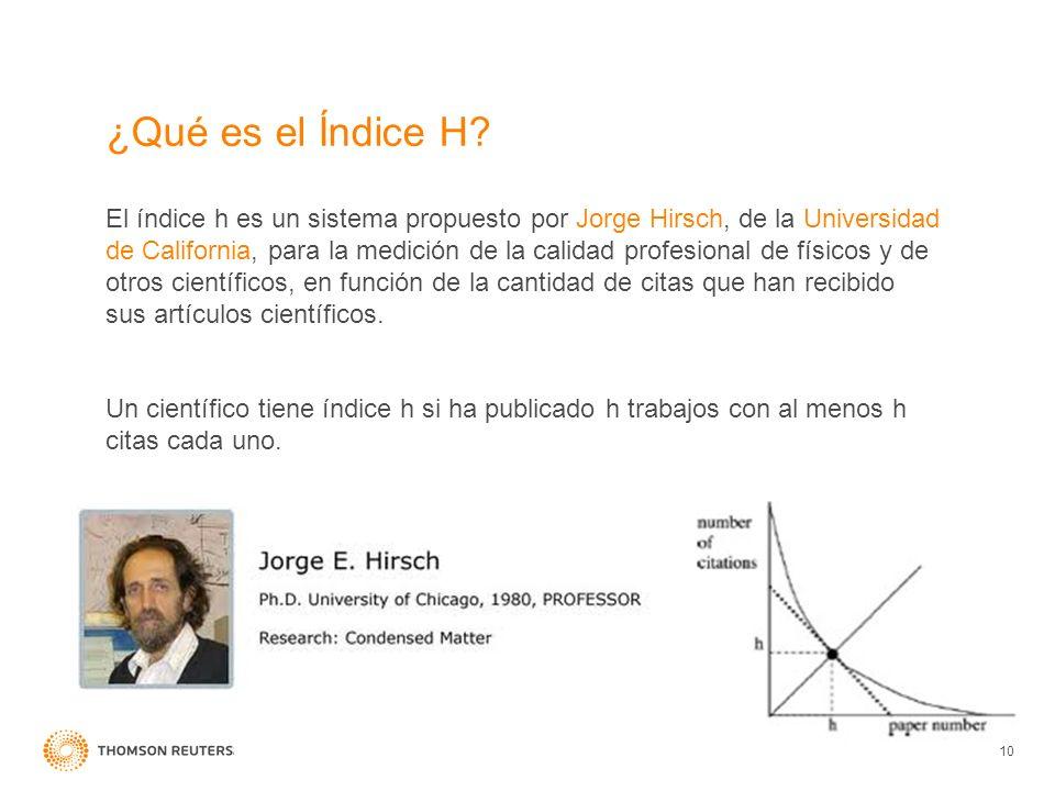 ¿Qué es el Índice H? 10 El índice h es un sistema propuesto por Jorge Hirsch, de la Universidad de California, para la medición de la calidad profesio