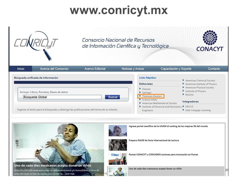 20 www.conricyt.mx