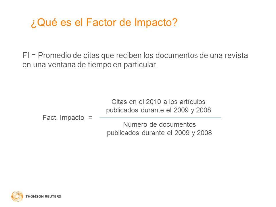 ¿Qué es el Factor de Impacto? FI = Promedio de citas que reciben los documentos de una revista en una ventana de tiempo en particular. Citas en el 201