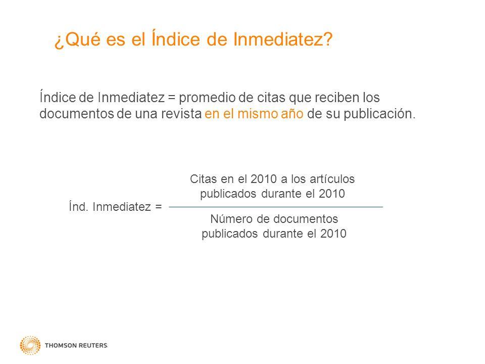 ¿Qué es el Índice de Inmediatez? Índice de Inmediatez = promedio de citas que reciben los documentos de una revista en el mismo año de su publicación.