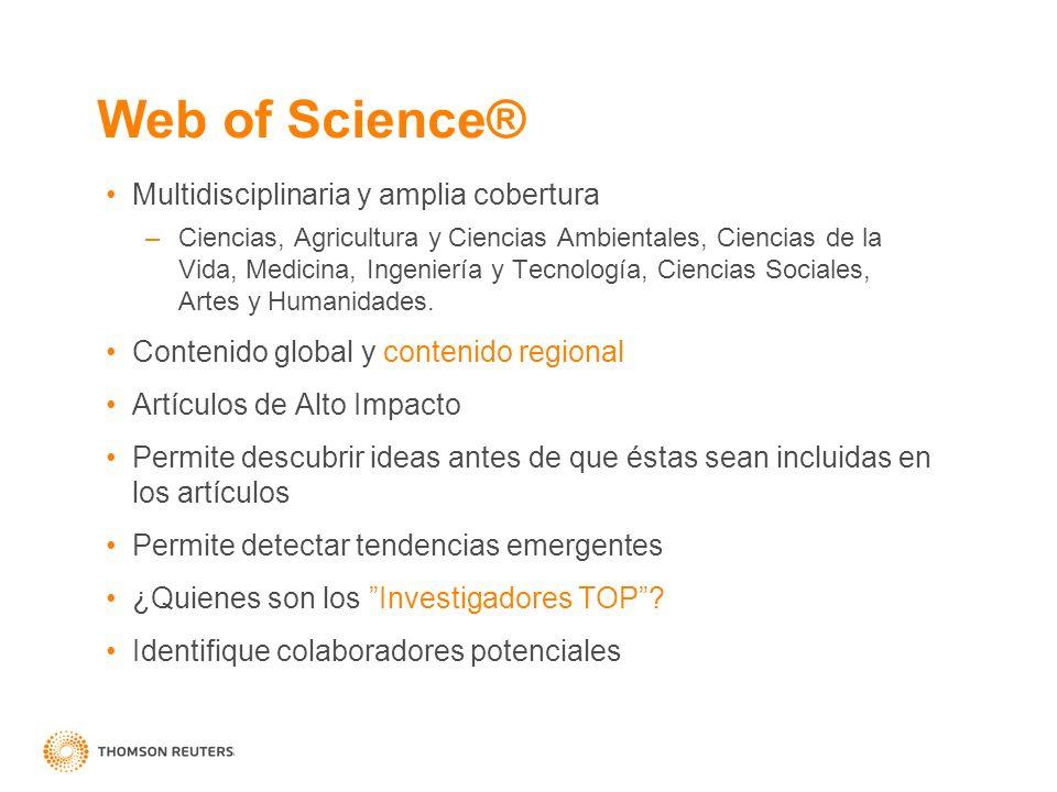 Multidisciplinaria y amplia cobertura –Ciencias, Agricultura y Ciencias Ambientales, Ciencias de la Vida, Medicina, Ingeniería y Tecnología, Ciencias