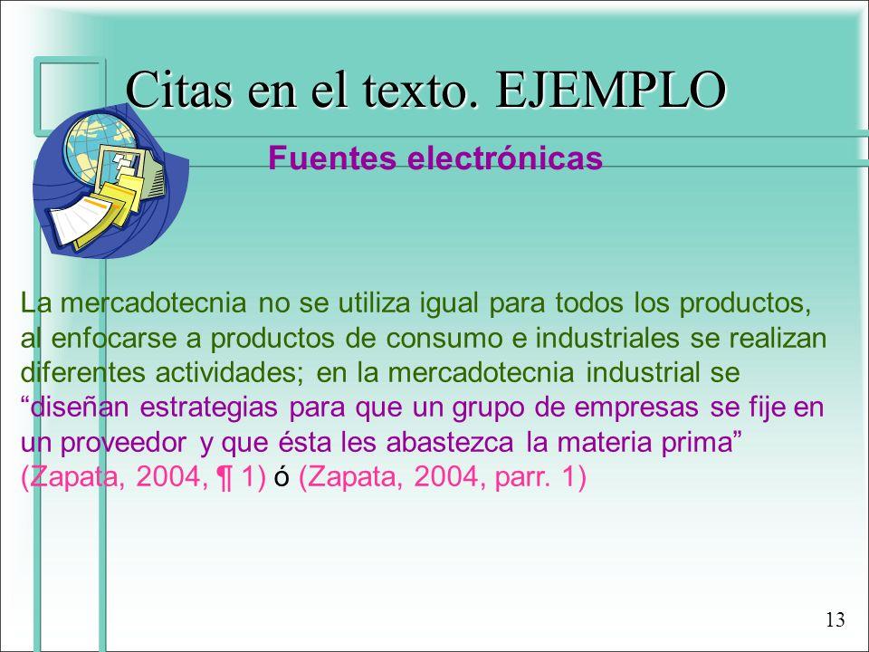 Citas en el texto. EJEMPLO Fuentes electrónicas La mercadotecnia no se utiliza igual para todos los productos, al enfocarse a productos de consumo e i