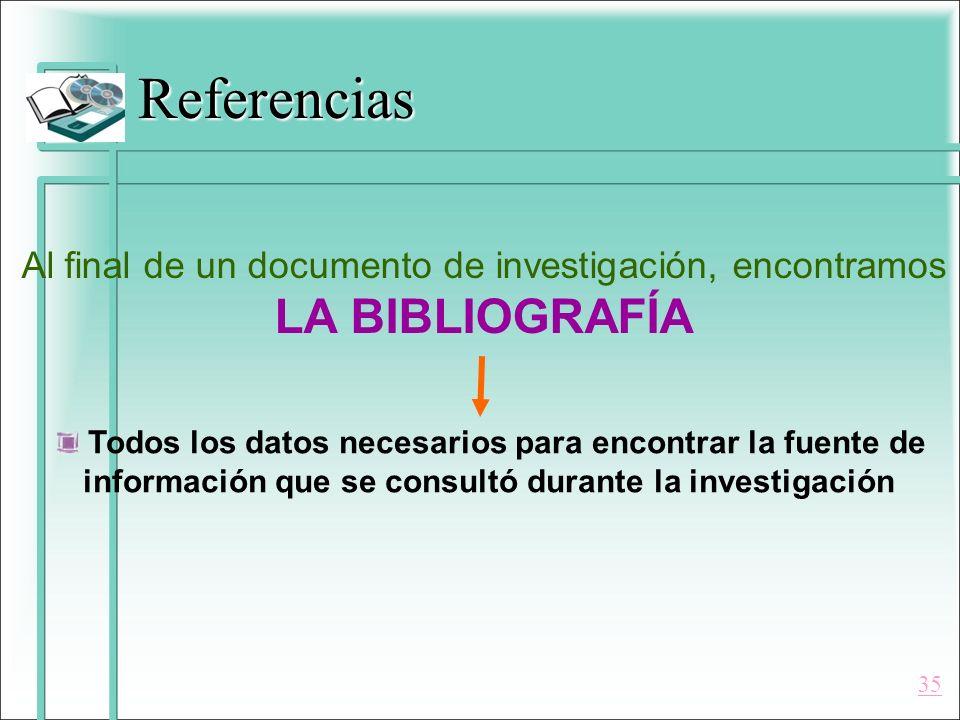 Referencias Al final de un documento de investigación, encontramos LA BIBLIOGRAFÍA Todos los datos necesarios para encontrar la fuente de información
