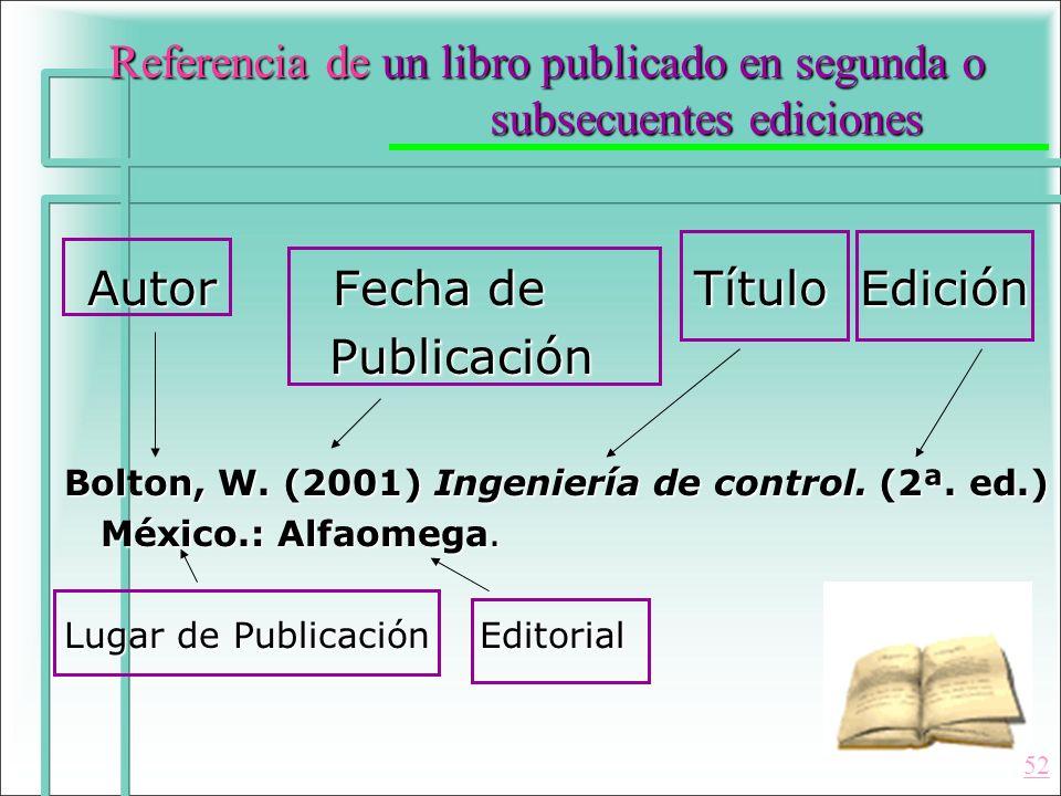 Referencia de un libro publicado en segunda o subsecuentes ediciones Autor Fecha de Título Edición Autor Fecha de Título Edición Publicación Publicaci