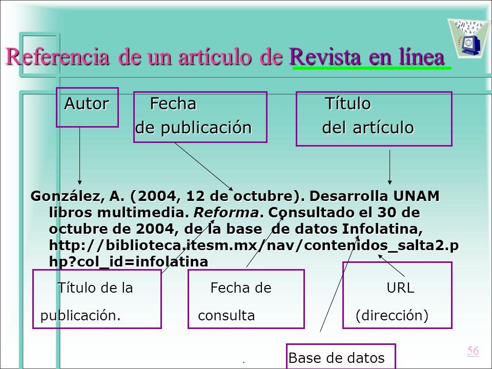 Referencia de un artículo de Revista en línea Autor Fecha Título Autor Fecha Título de publicación del artículo de publicación del artículo González,