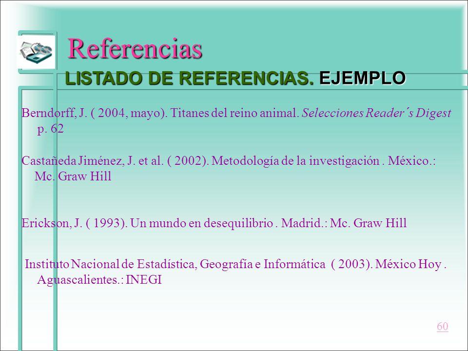 Referencias LISTADO DE REFERENCIAS. EJEMPLO Berndorff, J. ( 2004, mayo). Titanes del reino animal. Selecciones Reader´s Digest p. 62 Castañeda Jiménez
