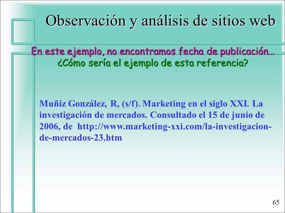 Observación y análisis de sitios web En este ejemplo, no encontramos fecha de publicación… ¿Cómo sería el ejemplo de esta referencia? Muñiz González,
