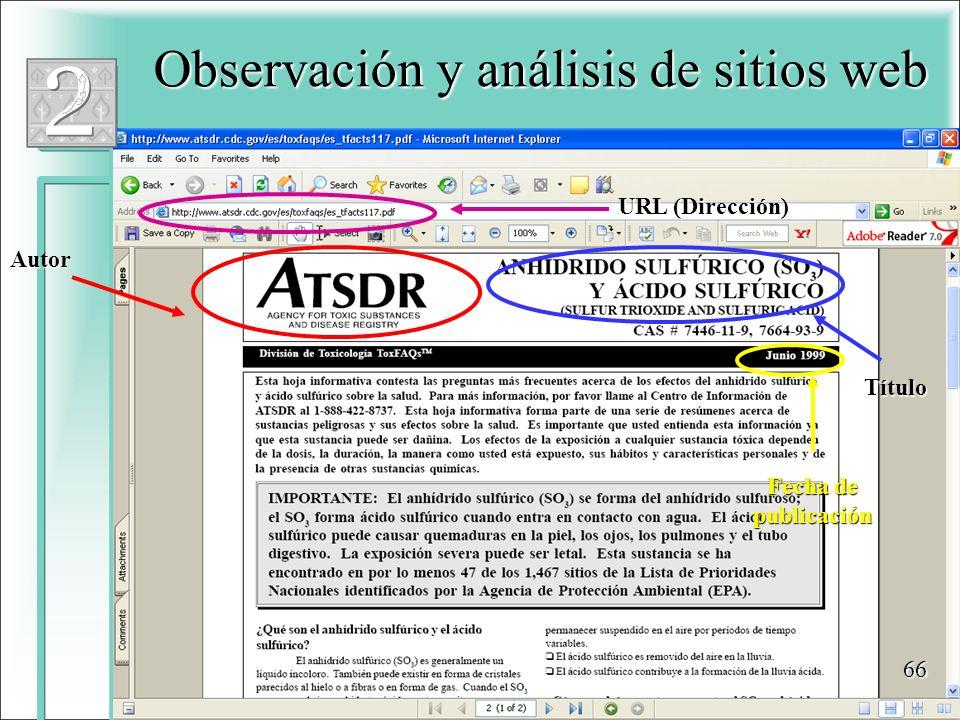 Observación y análisis de sitios web Autor Título Fecha de publicación URL (Dirección) 66