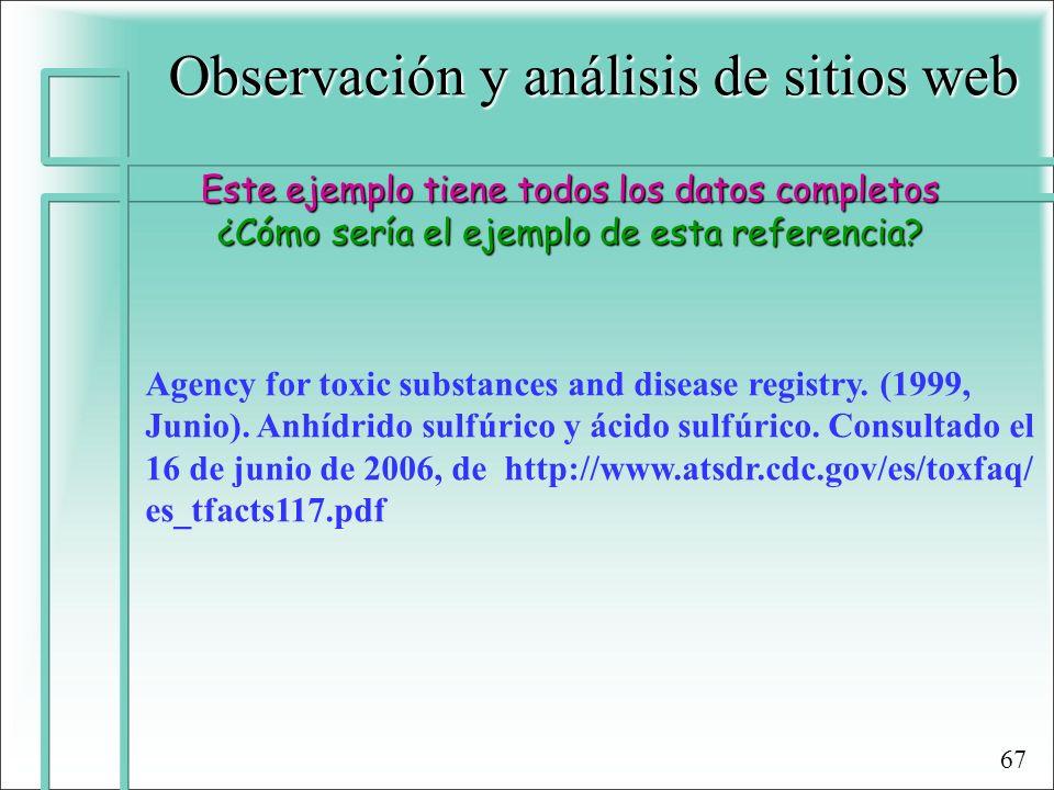 Observación y análisis de sitios web Este ejemplo tiene todos los datos completos ¿Cómo sería el ejemplo de esta referencia? Agency for toxic substanc