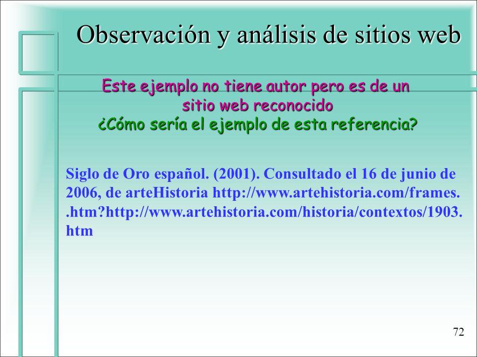 Observación y análisis de sitios web Este ejemplo no tiene autor pero es de un sitio web reconocido ¿Cómo sería el ejemplo de esta referencia? Siglo d