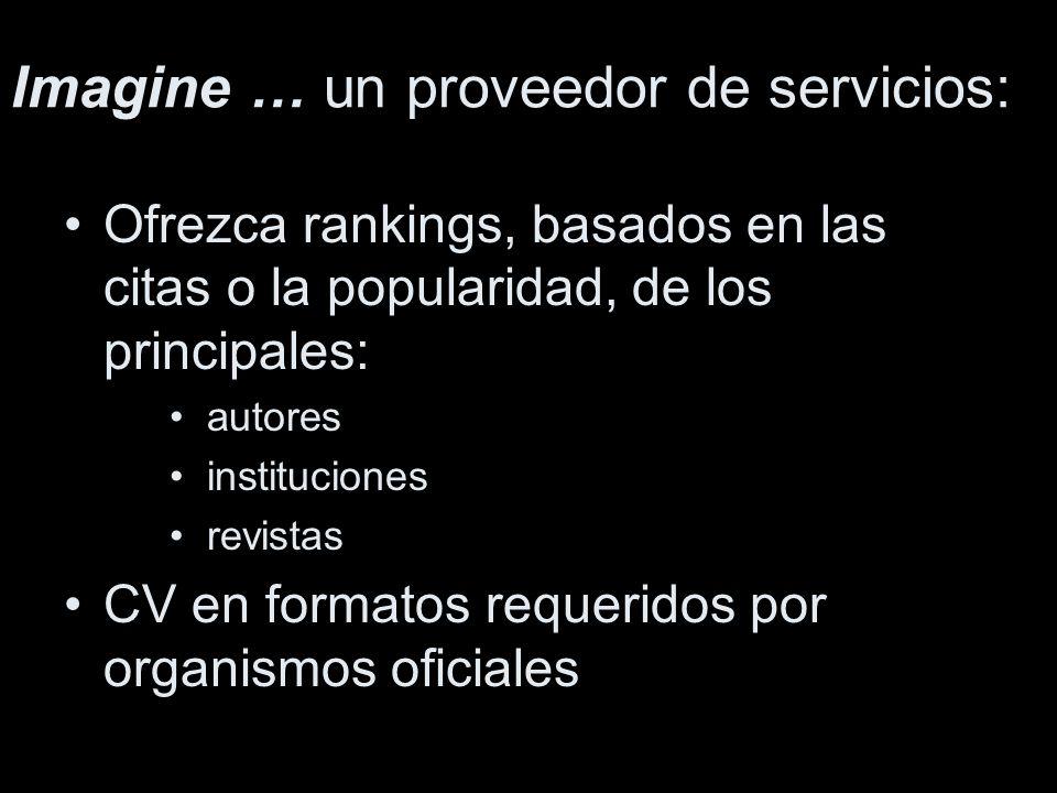 Ofrezca rankings, basados en las citas o la popularidad, de los principales: autores instituciones revistas CV en formatos requeridos por organismos oficiales Imagine … un proveedor de servicios: