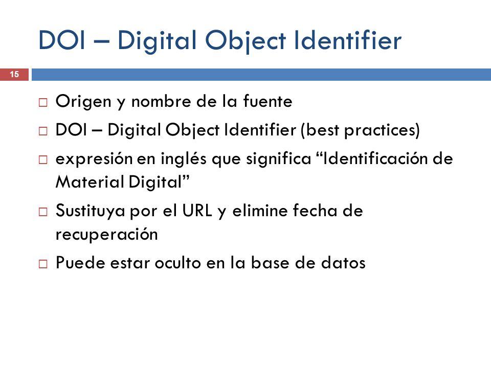 DOI – Digital Object Identifier 15 Origen y nombre de la fuente DOI – Digital Object Identifier (best practices) expresión en inglés que significa Ide