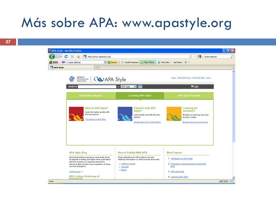 Más sobre APA: www.apastyle.org 37