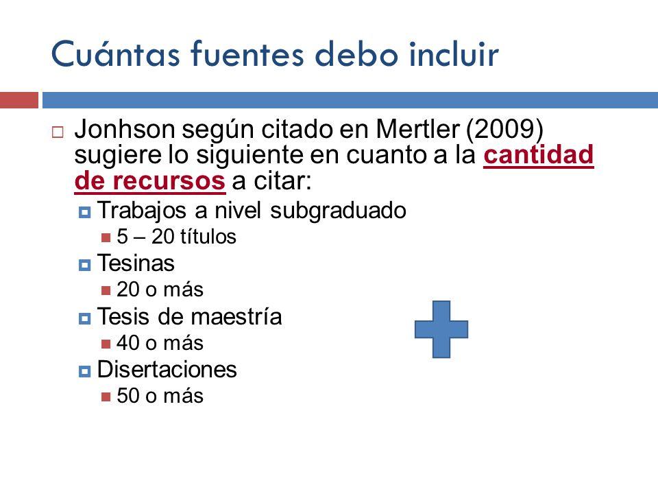 Cuántas fuentes debo incluir Jonhson según citado en Mertler (2009) sugiere lo siguiente en cuanto a la cantidad de recursos a citar: Trabajos a nivel