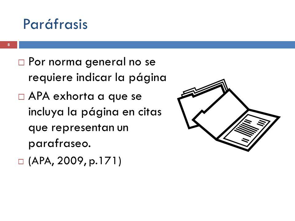 Paráfrasis Por norma general no se requiere indicar la página APA exhorta a que se incluya la página en citas que representan un parafraseo. (APA, 200