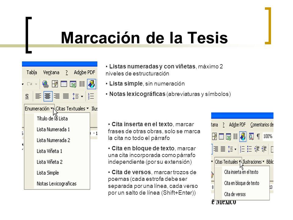 Marcación de la Tesis Listas numeradas y con viñetas, máximo 2 niveles de estructuración Lista simple, sin numeración Notas lexicográficas (abreviatur