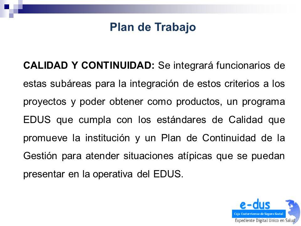 CALIDAD Y CONTINUIDAD: Se integrará funcionarios de estas subáreas para la integración de estos criterios a los proyectos y poder obtener como product