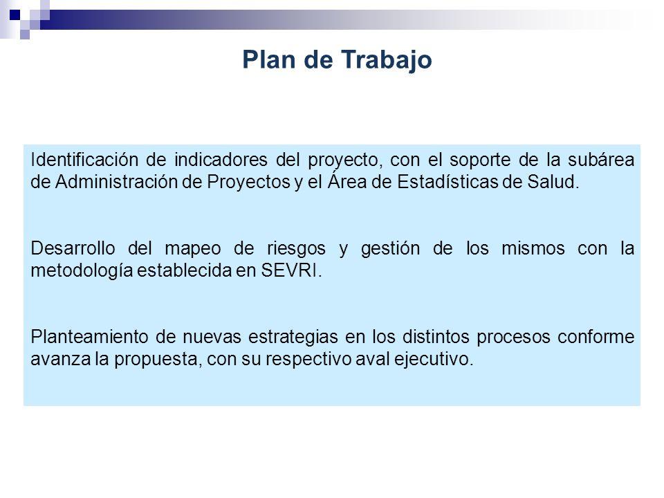 Identificación de indicadores del proyecto, con el soporte de la subárea de Administración de Proyectos y el Área de Estadísticas de Salud. Desarrollo