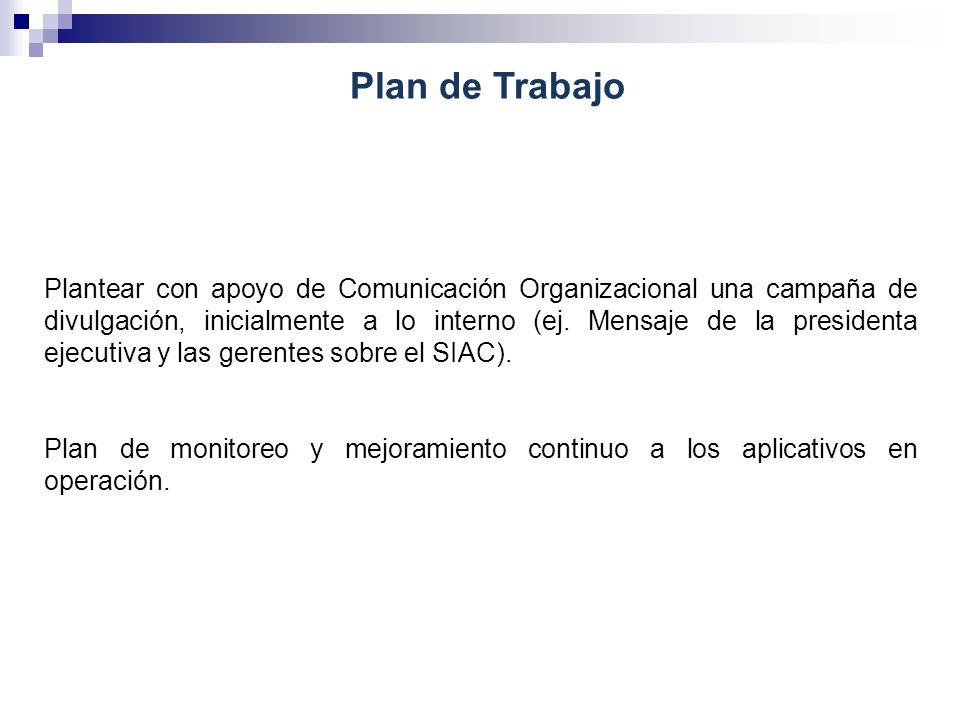 Plan de Trabajo Plantear con apoyo de Comunicación Organizacional una campaña de divulgación, inicialmente a lo interno (ej. Mensaje de la presidenta