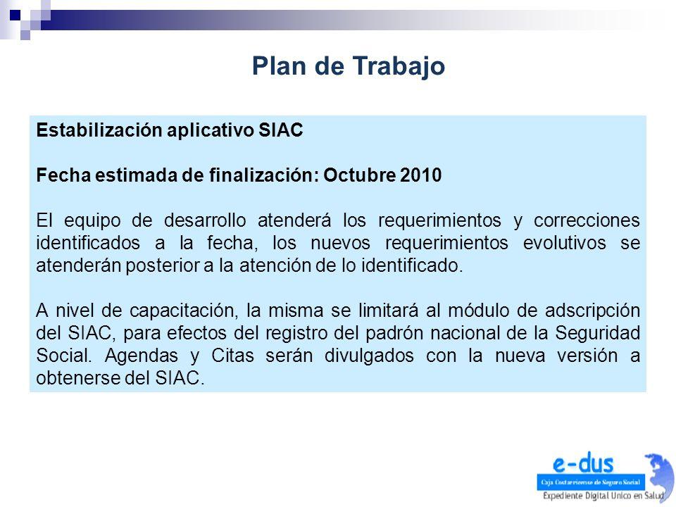 Estabilización aplicativo SIAC Fecha estimada de finalización: Octubre 2010 El equipo de desarrollo atenderá los requerimientos y correcciones identif