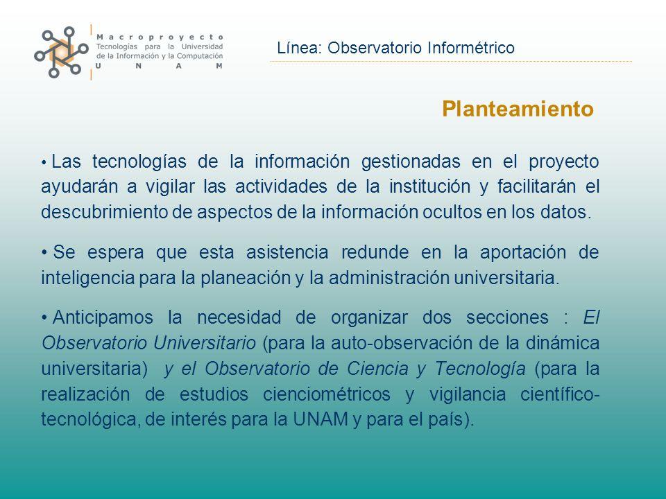Línea: Observatorio Informétrico Planteamiento Las tecnologías de la información gestionadas en el proyecto ayudarán a vigilar las actividades de la institución y facilitarán el descubrimiento de aspectos de la información ocultos en los datos.